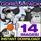 Cartoon Gorilla Clipart Collection - Gorilla Vector Pack!