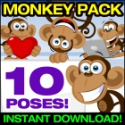 Cute Monkey Clipart Collection - Cute Monkey Vector Pack!