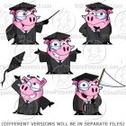 Cartoon Graduation Pig Clipart Collection - Vector Pack!