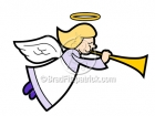 Cartoon Angel Flying with Horn