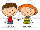 Cartoon Boy and Girl Holding Hands Clipart