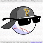 Cartoon Baseball Logo With Backwards Basball Cap - P