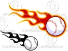 Cartoon Flaming Baseball Clipart
