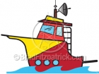 Cartoon Charter Fishing Boat Clipart
