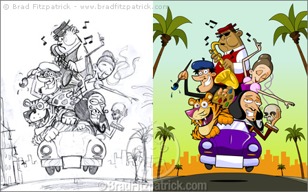 Florida Poster Illustration before and after - small