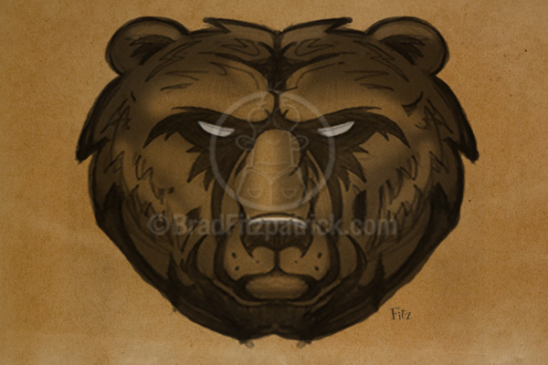 Grizzly Bear Drawing Concept for a Logo Mascot