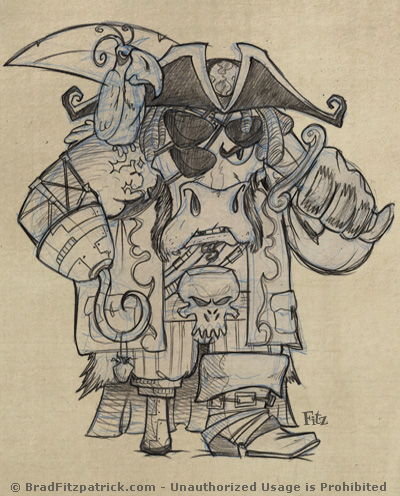 Alien Bull Pirate Drawings