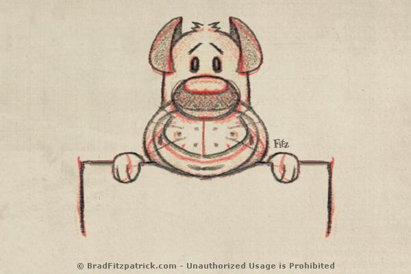 cartoon-dog-drawing-holding-blank-sign