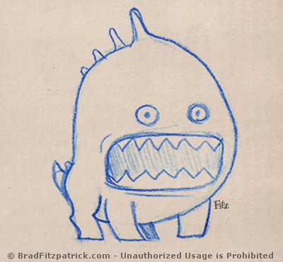 funny cute creature drawing with a very big mouth