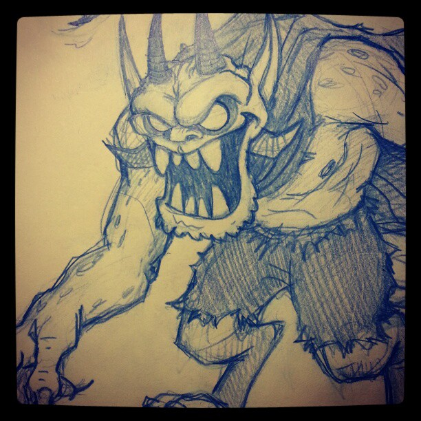 Demon Character Design Drawing - Concept Sketch of a Devil Demon Character