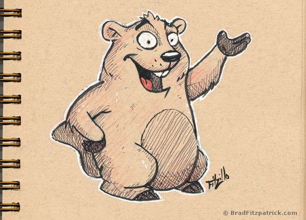 groundhog drawing - drawing of a cartoon groundhog