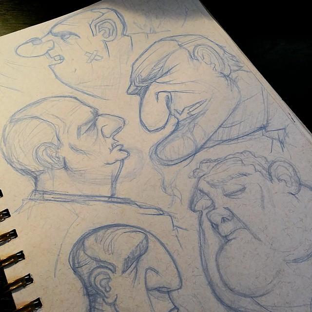 A toned sketchbook page full of concerned white men. #drawing #sketchbook #doodle #sketch #characterdesign