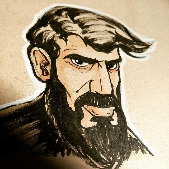 A very serious bearded fellow. #sketchbook #sketch #drawing #beard #brushpen