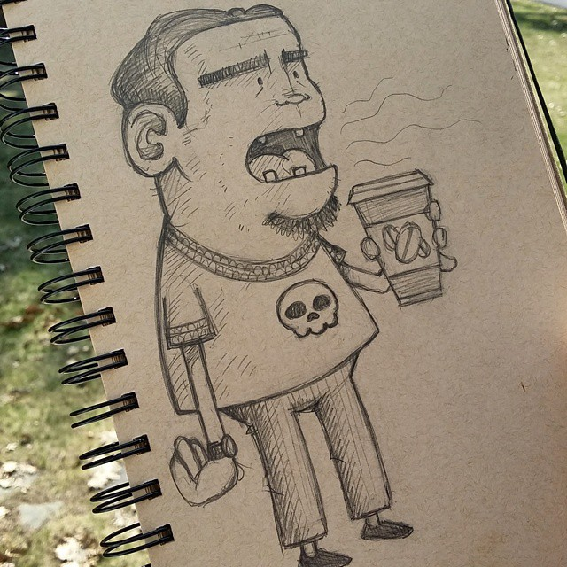 Bad Breath Brent #drawing #sketchbook #sketch #doodle #coffee #badbreath #skull