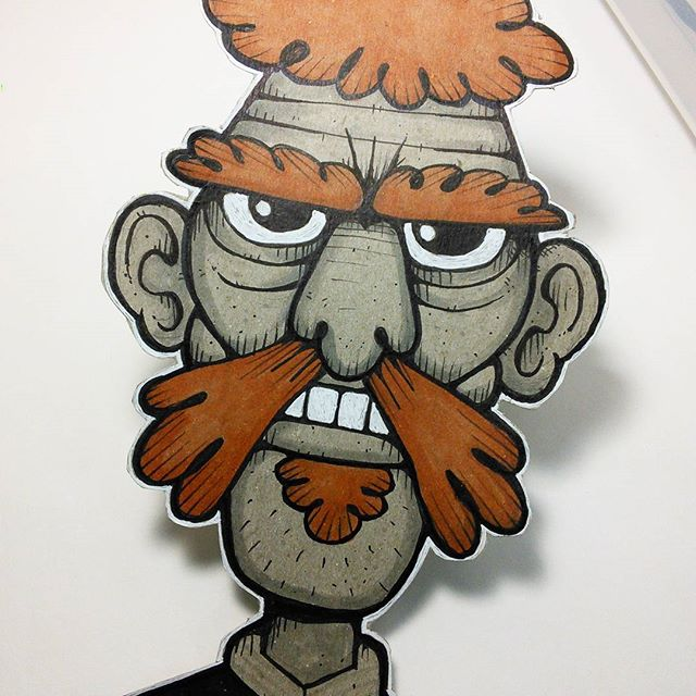 Cardboard Cutout Art // Inspired by The Vonster (@vglitschka) #drawing #sketch #cardboard #art #markers #fitzillo