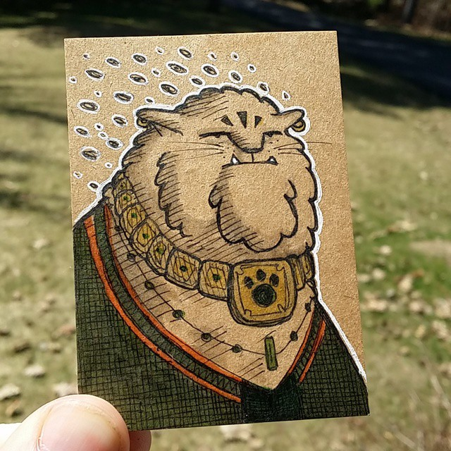 Cat Wizard #drawing #sketchcard #aceo #ink #cat