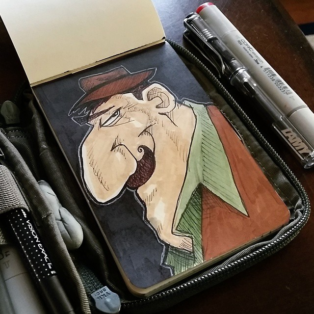 Desmond you magnificent bastard you. #sketchbook #sketch #drawing #doodle #moleskine #sketchkit #characterdesign #copic #curlymustachesrule #fedora #mustache #lamy