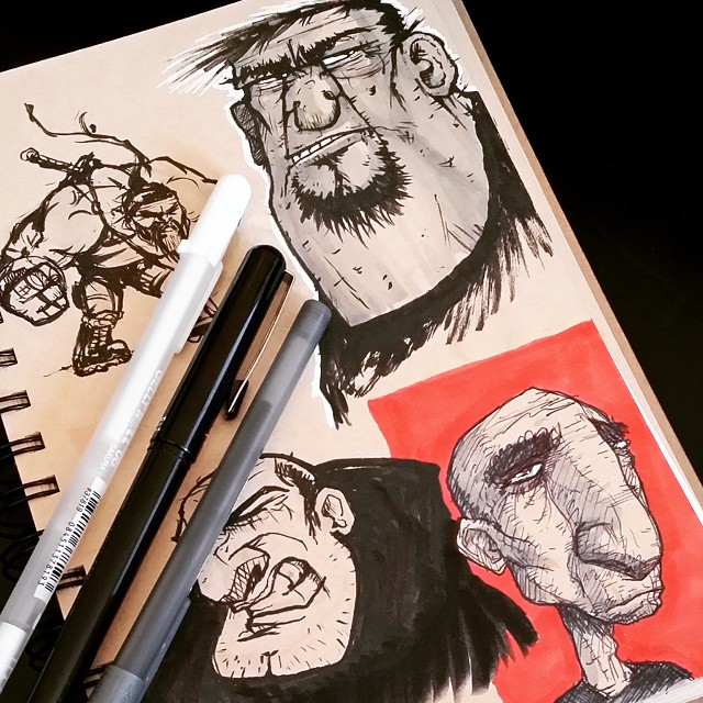 Experimental sketchbook page... different styles and tools trying to snap out of a funk. #sketchbook #sketch #drawing #doodle #art
