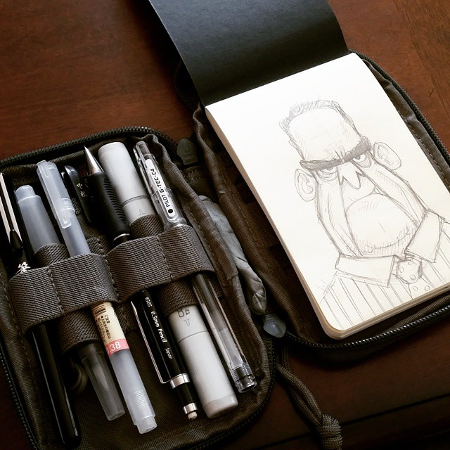 I'm *much* more pleased with my new sketch kit setup than my first victim is. #sketchbook #sketch #drawing #maxpedition #moleskine_arts #sketchaday #art #doodle #sketchkit