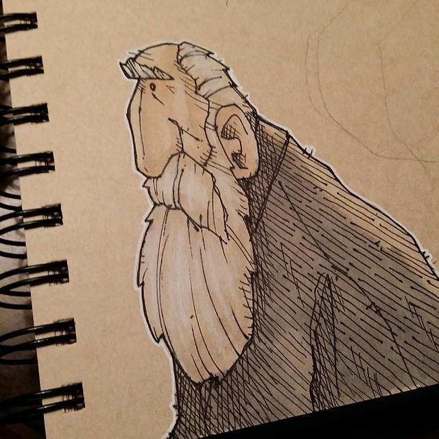 Old bearded dude ink sketch! #drawing #doodle #sketch #sketchbook #ink #penandink