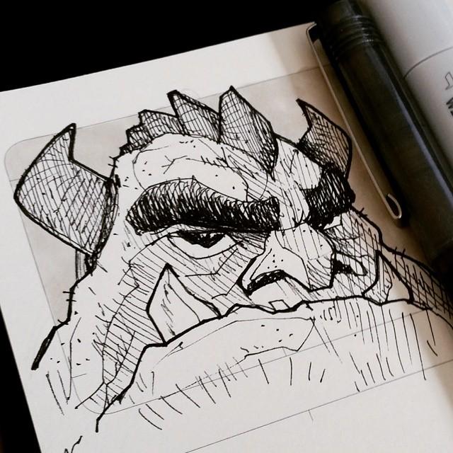 Pen and ink rock monster sketch! #drawing #ink #sketchbook #moleskine #doodle #penandink #monster #creaturedesign