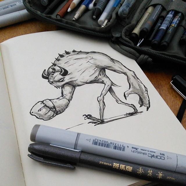 moleskine sketchbook creature monster ink brush & copic marker