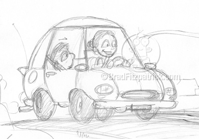 Easy Cartoon Cars Drawings