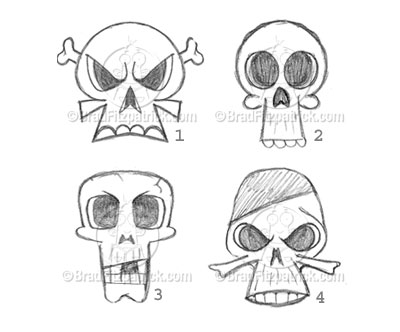 Drawlings Of Skulls With Hats On