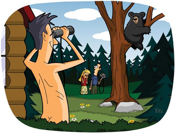 a cartoon illustration of a nude man watching a bear through his binoculars