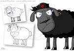 Cartoon Black Sheep Character Design