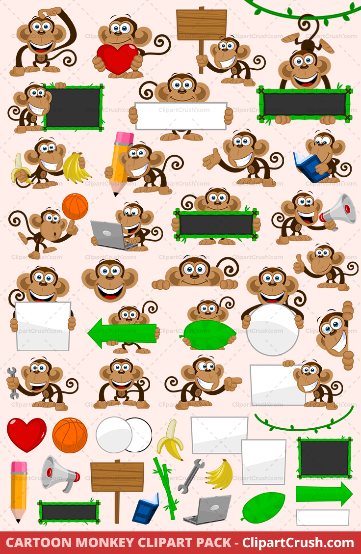 Cartoon Monkey Mascot Clipart