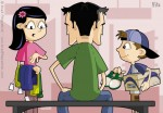Children's Book Illustration of A Dad and Kids School Shopping