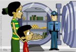 Children's Book Illustration of Mom Showing Her Son a Bank Vault that is Guard by a Security Guard