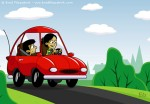 Children's Book Illustration of a Mom and Son Riding in a Red Car