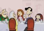 Children's Book Illustration of a Family Having Dinner at a Restaurant
