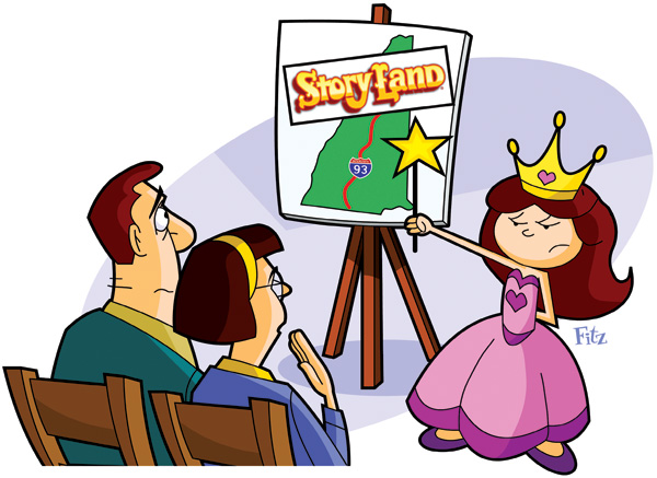Illustration of a little princess making the case for a trip to Storyland