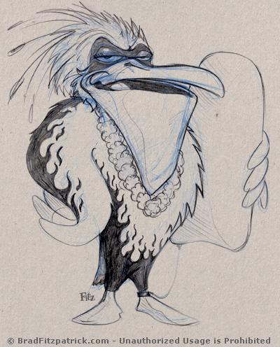 Cartoon Pelican Drawing - Surfing Beach Pelican Drawings
