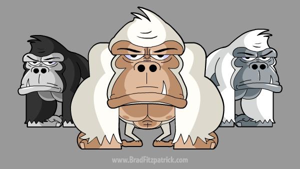 white cartoon albino gorilla clipart
