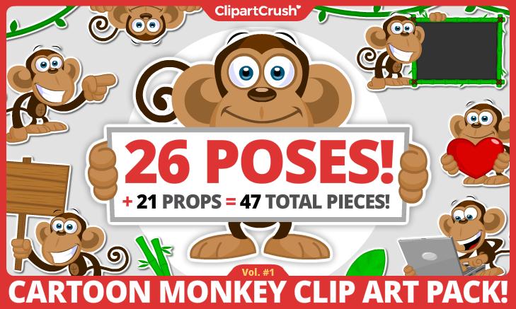 cartoon monkey clipart set
